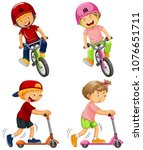 urban boys riding bicycle and... | Shutterstock .eps vector #1076651711