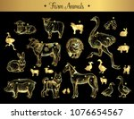 set of isolated vintage golden... | Shutterstock .eps vector #1076654567