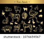 set of isolated vintage golden... | Shutterstock .eps vector #1076654567