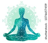 yoga watercolor silhouette | Shutterstock .eps vector #1076657459