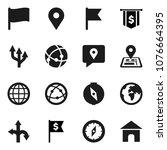 flat vector icon set   compass... | Shutterstock .eps vector #1076664395
