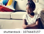 black girl with sadness emotion | Shutterstock . vector #1076665157