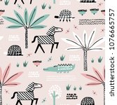 safari animals seamless pattern ... | Shutterstock .eps vector #1076665757