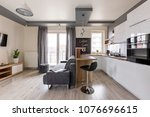 modern apartment with open... | Shutterstock . vector #1076696615