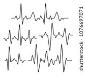 set of isolated heartbeat lines.... | Shutterstock .eps vector #1076697071