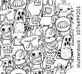 abstract seamless monster... | Shutterstock .eps vector #1076699201