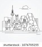 linear illustration of madrid ... | Shutterstock .eps vector #1076705255