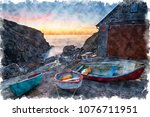 watercolour painting of dawn at ... | Shutterstock . vector #1076711951