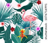tropical leaves  flamingo and... | Shutterstock .eps vector #1076716991