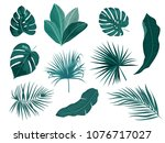 tropical palm leaves  jungle...   Shutterstock .eps vector #1076717027