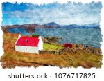 watercolour painting of a... | Shutterstock . vector #1076717825