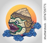 hanuman head vector illustration   Shutterstock .eps vector #1076720771