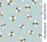 vector cute cartoon bee... | Shutterstock .eps vector #1076724701