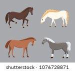 cute horses in various poses...   Shutterstock . vector #1076728871