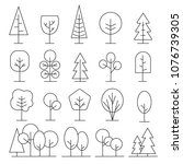 different trees icons set in... | Shutterstock .eps vector #1076739305