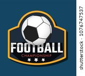 soccer ball with stylish text... | Shutterstock .eps vector #1076747537