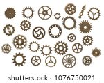 set of different brass cog... | Shutterstock . vector #1076750021