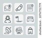 premium set of outline icons.... | Shutterstock .eps vector #1076751779