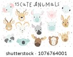 cute animals isolated... | Shutterstock .eps vector #1076764001
