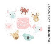 cute baby shower poster. cards... | Shutterstock .eps vector #1076764097