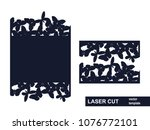 laser cut template. wedding... | Shutterstock .eps vector #1076772101