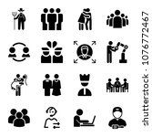 set of 16 people filled icons...   Shutterstock .eps vector #1076772467