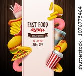 colorful fast food  background. ...   Shutterstock .eps vector #1076775464