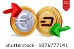 dash to euro currency exchange. ... | Shutterstock .eps vector #1076777141