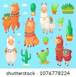 mexican cartoon  cute alpaca... | Shutterstock .eps vector #1076778224