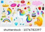 set of girls fashion cute... | Shutterstock .eps vector #1076782397