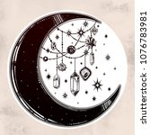 crescent boho moon with... | Shutterstock .eps vector #1076783981