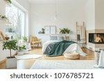 spacious hotel bedroom interior ... | Shutterstock . vector #1076785721