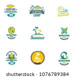 set collectionh summer surfing... | Shutterstock .eps vector #1076789384
