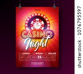 vector casino night flyer... | Shutterstock .eps vector #1076795597