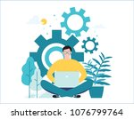 man online assistant at work... | Shutterstock .eps vector #1076799764