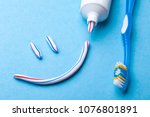 tooth paste in the form of face ... | Shutterstock . vector #1076801891