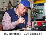 electrician fixing eletrical... | Shutterstock . vector #1076806859