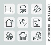 premium set of outline icons.... | Shutterstock .eps vector #1076811284