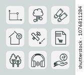 premium set of outline icons.... | Shutterstock .eps vector #1076811284