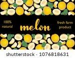vector illustration of melon... | Shutterstock .eps vector #1076818631