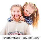 little girl using her fingers... | Shutterstock . vector #1076818829