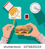 tasty burger  red striped paper ... | Shutterstock .eps vector #1076820224
