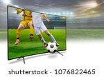 4k monitor watching smart tv... | Shutterstock . vector #1076822465
