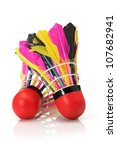 shuttlecock with feathers on a... | Shutterstock . vector #107682941