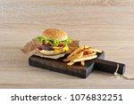 hamburger with minced beef...   Shutterstock . vector #1076832251