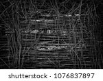 neglected wattle fence entwined ... | Shutterstock . vector #1076837897