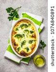 broccoli ham mozzarella baked... | Shutterstock . vector #1076840891