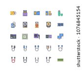 computer filled outline icons 25 | Shutterstock .eps vector #1076845154