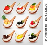 big collection of fruits with... | Shutterstock .eps vector #1076852609