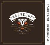 grill restaurant logo vector... | Shutterstock .eps vector #1076858927